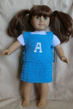 Crochet Pattern 178 Vest and Skirt Set  For 18 Inch Dolls