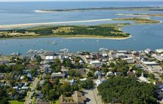 Aerial view of the waterfront in Beaufort, North Carolina!