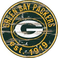 """Green+Bay+Packers+Distressed+24""""+x+24""""+Round+Wall+Art"""