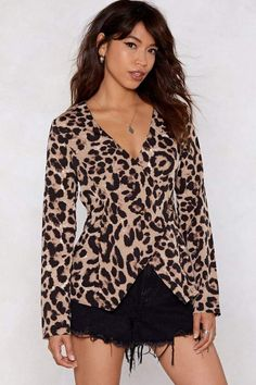 b1edf75c0d All Together Meow Leopard Blouse