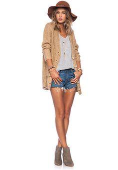 Cardi, cute hat and jean shorts