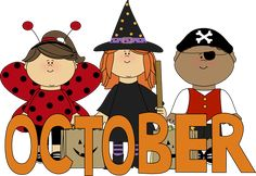 What Month Is October | October Trick or Treaters Clip Art Image - the word October in orange ...