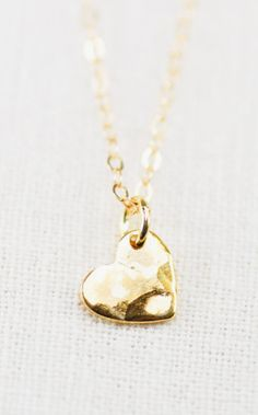 Pu'uwai necklace  gold heart charm necklace gold
