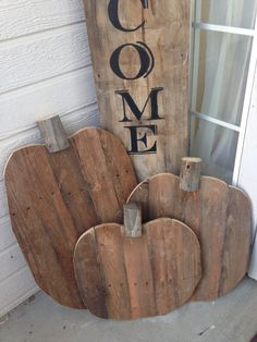 3 Wood Pumpkins and Welcome Sign by KLMDesignsIdaho on Etsy