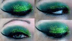 makeup:    Green with glitter  http://ladysinn.tumblr.com/