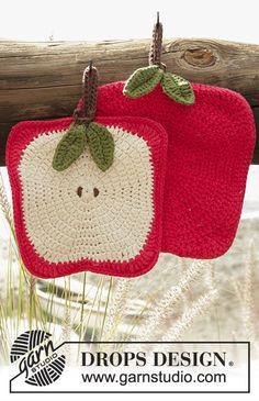 Crochet DROPS apple pot holders in Paris. Free crochet pattern by DROPS Design. Crochet Apple, Crochet Pig, Crochet Amigurumi, Crochet Home, Love Crochet, Crochet Crafts, Yarn Crafts, Crochet Design, Crochet Bikini