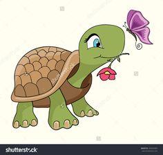Cute Turtle Cartoon/Cartoon Smiling Green Turtle Character/Cartoon ...