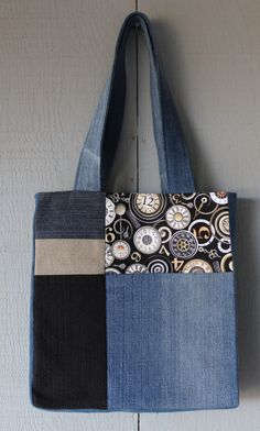 Vintage Clock Inspired Denim and Fabric Patch with Front Pocket Tote and Lined with Soft Cotton by AllintheJeans on Etsy