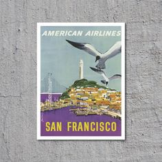 1966 American Airlines // San Francisco // Artist: John Fernie // High Quality Fine Art Reproduction Giclée Print // Vintage Poster Art by WiredWizardWeb on Etsy