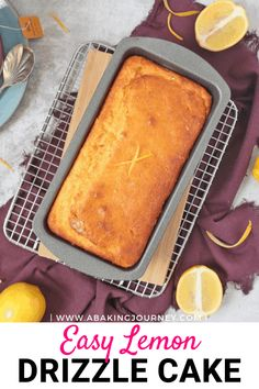 This Lemon Drizzle Cake is such an easy and deliciously tangy lemon cake to make at home. Enjoy it for breakfast, morning and afternoon tea or dessert! Lemon Dessert Recipes, Rhubarb Recipes, Delicious Cake Recipes, Lemon Recipes, Easy Cake Recipes, Easy Lemon Drizzle Cake, Lemon Loaf Cake, Lemon Icing, Lemon Cake From Scratch