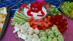 Veggie tray w/crab bell pepper Veggie Platters, Veggie Tray, Vegetable Trays, Seafood Boil Party, Crab Feast, Low Country Boil, Bubble Guppies Birthday, Little Mermaid Birthday, Mermaid Parties
