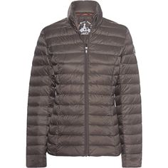 JOTT - JUST OVER THE TOP Cha Taupe // Lightweight down jacket (10.695 RUB) ❤ liked on Polyvore featuring outerwear, jackets, light weight down jacket, down feather jacket, lightweight padded jacket, taupe jacket and down jacket