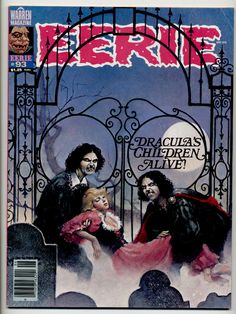 Eerie #93, Don Maitz cover. I wanted to use the cover illustration in a more expansive way, so had Don (most famous for creating the Captain Morgan of Rum-fame) to create an iron cemetery gate  that could intrude on the logo, but not obscure it - while at the same time incorporating the cover blurb into it (in a nod to both to Alphonse Mucha composition and  Milton Glaser's 'New York' magazine in terms of concept and typography: Bookman w/swashes)