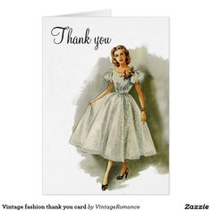Vintage fashion thank you card