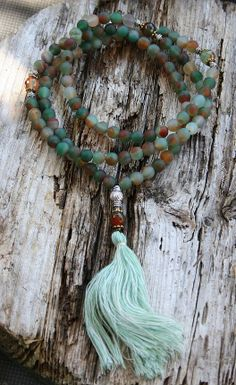 Frosted Agaat Mala ketting van look4treasures op Etsy, $49.95