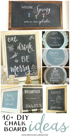DIY Chalkboards Galore!! All styles, all thrifty, all ones you can do too!