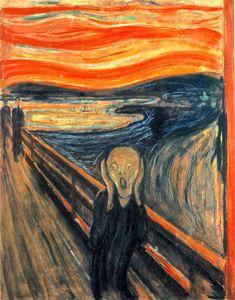 Edvard Munch - Le Cri (1893) « Je me promenais sur un sentier avec deux amis — le soleil se couchait — tout d'un coup le ciel devint rouge sang je m'arrêtai, fatigué, et m'appuyai sur une clôture — il y avait du sang et des langues de feu au-dessus du fjord bleu-noir de la ville — mes amis continuèrent, et j'y restai, tremblant d'anxiété — je sentais un cri infini qui se passait à travers l'univers et qui déchirait la nature. » dans son journal le 22 juillet 1892