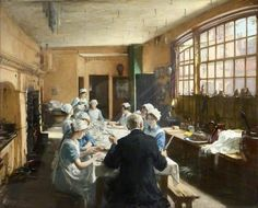 """athousandwinds: """" An Old Inn Kitchen, oil on canvas by Frederick William Elwell, British, Elwell's work centered on people at work or play. For those of you who enjoyed Downton. Paintings I Love, Your Paintings, Aberdeen Art Gallery, Frederick William, Walker Art, English Artists, Art Uk, Women In History, Room Paint"""