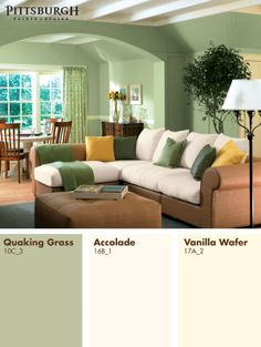 Neutral furniture tones help to make your colors pop. http://www.menards.com/main/search.html?search=%22quaking+grass%22+or+accolade+or+%22Vanilla+Wafer%22&sf_categoryHierarchy=Paint_7918~Interior+Paint+%26+Stain_8015&sf_brandName=Pittsburgh+Paint+%26+Stain&utm_source=pinterest&utm_medium=social&utm_content=paint&utm_campaign=interestinginteriors