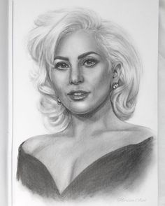"""Lady Gaga. 7 1/2"""" x 11"""" sketchbook. Graphite pencils. 2016. By: Marissa Asal (The_Lovely_Drawing on Instagram)"""