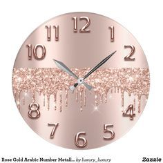 Rose Gold Arabic Number Metallic Blush Glitter Large Clock - Home decor interests