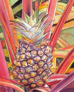 Kauai Pineapple II print 8x10 from Kauai Hawaii orange purple on Etsy, $25.00