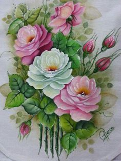Resultado de imagen para Pintura One Stroke Painting, Tole Painting, Fabric Painting, Fabric Art, Flower Images, Flower Pictures, Flower Art, Vintage Flowers, Vintage Floral