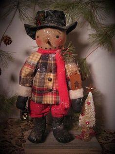 Primitive Folk Art Standing Winter Snowman Doll~Lighted Lantern~Tree 2 #NaivePrimitive #DustpanDolliesbyPaula