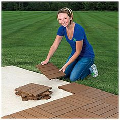 Interlocking Polywood Deck & Patio Tiles, 10-Pack Imagine a temporary patio for camping.