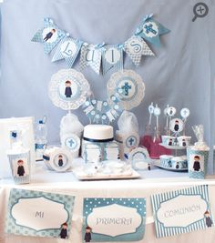 Kit mesa dulce Comunión Niño - Mi petit partyMi petit party First Communion Cakes, First Holy Communion, Candy Bar Comunion, Teacher Prayer, Christening Decorations, Ideas Para Fiestas, Creative Gifts, Girl Nursery, Baby Shower