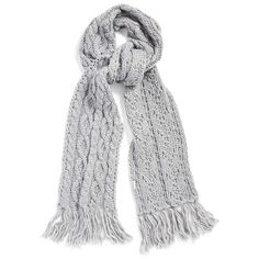 Rella 'Betto' Cable Knit Merino Wool Blend Scarf ($63) ❤ liked on Polyvore featuring accessories, scarves, heather grey, oblong scarves, long scarves, cable knit shawl, chunky scarves and merino wool scarves