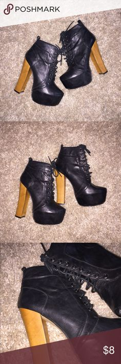 🎇 Bakers Heels 🎇 Black Lace up ankle booties with tan block heel. 6 inch heel 2 inch platform. Worn 3-4 times. Great condition. Wild Pair Shoes Ankle Boots & Booties
