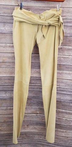 467b77b43a2 Dolce Gabbana Leather Pants Beige Womens Small Medium soft Italy vtg   DolceGabbana  Leather