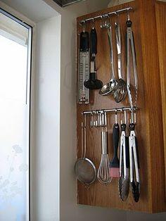 ikea rack for utensil storage - in cabinet? above sink?