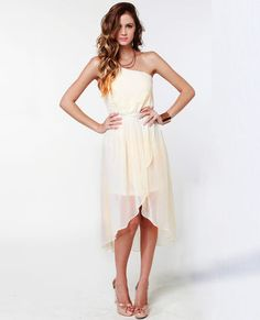 Sail Away Cream High-Low Dress - Wrong color but love for a bridesmaid dress
