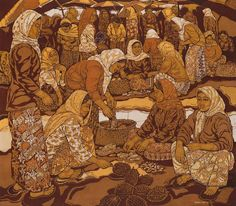 ISMAIL MAT HUSSIN BATIK LATE 1990S - WOMEN AT THE PASAR TANI Southeast Asian Arts, 1990s, Painting, Women, Painting Art, Paintings, Painted Canvas, Drawings, Woman