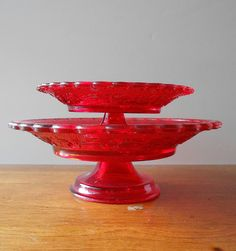Image detail for -Vintage pedestal dishes, red glass serving dishes / housewares / home ...