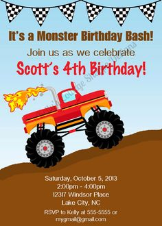 Custom, Printable Monster Truck Party Labels.... Food Tags, Place Cards, Party Signs. $12.00, via Etsy.