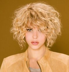 Best Short Curly Hairstyles for womens 2014 Curly Hair Cuts, Short Curly Hair, Wavy Hair, Short Hair Cuts, Curly Hair Styles, Natural Hair Styles, Curly Bangs, Short Blonde, Curly Bob