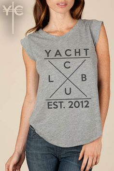 We gave our classic women's crewneck tee a fashionable edge with feminine cap sleeves. Crafted of our classic Cotton Jersey, this comfortable tee is finished with double-needle stitching and a rounded bottom hem.  - Heather Grey: 67% Cotton, 33% Polyester - Heather Grey yarn dyed and garment w...  #YachtClub #LadiesFashion #Anchor #Nautical #Clothing #Fashion #Nashville