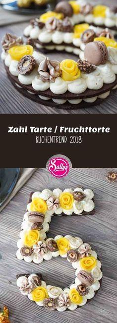Der Kuchentrend im Jahr 2018 sind Fruchttorten mit einem Keksboden und einer aufgespritzten Creme. Ich bereite die Creme aus Frischkäse und Sahne zu und dekoriere diese edle Zahl mit Mangorosen, Raffaello, Rocher und anderen Dekorationen.