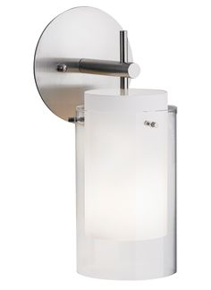 """Echo Wall 75w x 120v wall sconce by tech lighting, 5.5"""" x 13"""" clear glass & frosted inner cylinder- $408"""