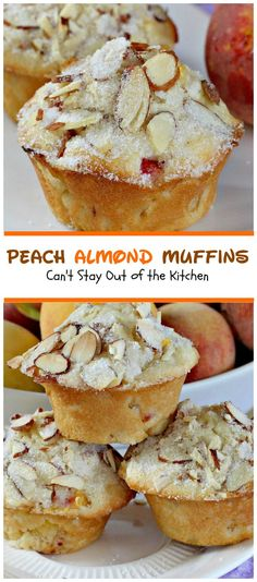 Peach Almond Muffins | Can't Stay Out of the Kitchen | these moist and delicious #muffins are filled with #peaches and have double the #almond flavor.