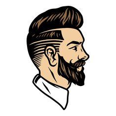 Bearded Barber vector illustration. Tattoo concept. Vector Design, Graphic Design, Barber Shop Decor, Barbershop Design, Salon Interior Design, Monochrome Fashion, Dark Backgrounds, Apparel Design, Business Logo