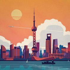 Work by @alex247 ・・・ #design #illustration #art #artistsoninstagram #shanghai #china #skyline #chinese #designstudio #vector #clouds #shanghaitower #tbt #travel #travelgram #explore #wanderlust #asia #plane #color #warm #purple #bold #adobe #geometry #orient #sailboats #city
