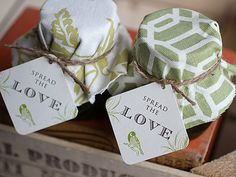 Coordinating pieces of fabric over jars, twine and stamped favor tags would make any guest happy!