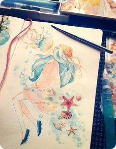 Watercolor practice! Trying out some regular paint brushes instead of my usual waterbrush.  wooooo jellies (づ ̄ ³ ̄)づ