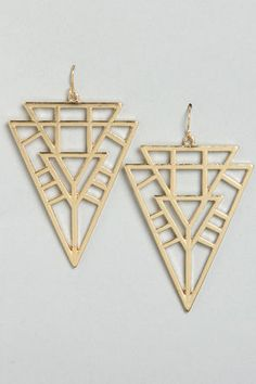 Tri Your Best Gold Dangle Earrings at LuLus.com!