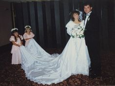 1980s  Attire for the flowers girls was also influenced by the royal wedding, from the puffy sleeves to the floral crowns.  Pictured: Angela and Kevin O'Gorman, married in 1988, with their flower girls.