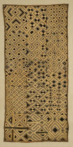 "Africa | Boutala Waist Wrap. Kuba. The Congo. 22""x 49"". Raffia cut pile and flat embroidery."